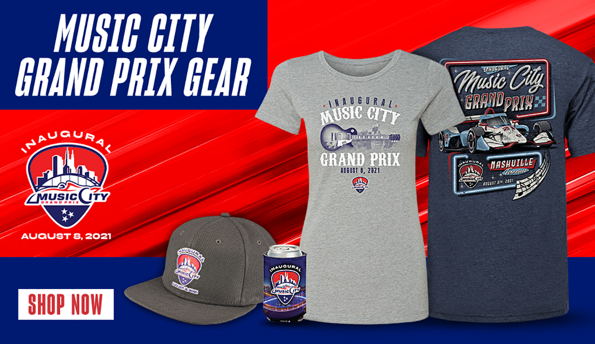 Music City Grand Prix Gear, with logo and example items including T-shirts, hat, and koozie, with clickable Shop Now button embedded.