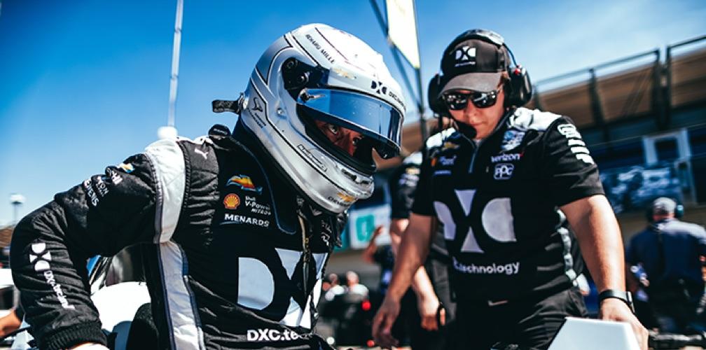 Driver with helmet visor open